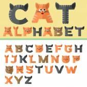 Alphabet in flat design in cat's style — Stock Vector