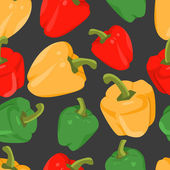 Seamless background with colorful peppers  in flat design — Vettoriale Stock