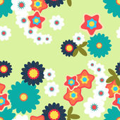 Seamless background made of abstract flowers in flat design — Stock Vector