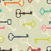 Seamless background made of colorful keys in flat design — Vector de stock