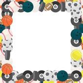 Cadre coloré en différents types de boules au design plat — Vecteur
