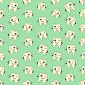 Seamless colorful background made of  cartoons of happy teeth — Stok Vektör
