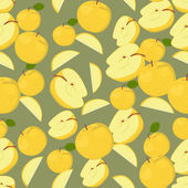 Seamless colorful background made of apples in flat design — Stok Vektör