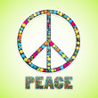 Image with peace sign filled circles and text below — Stock Vector #75291989