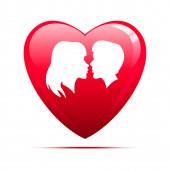 красное сердце на белом фоне — Стоковое фото