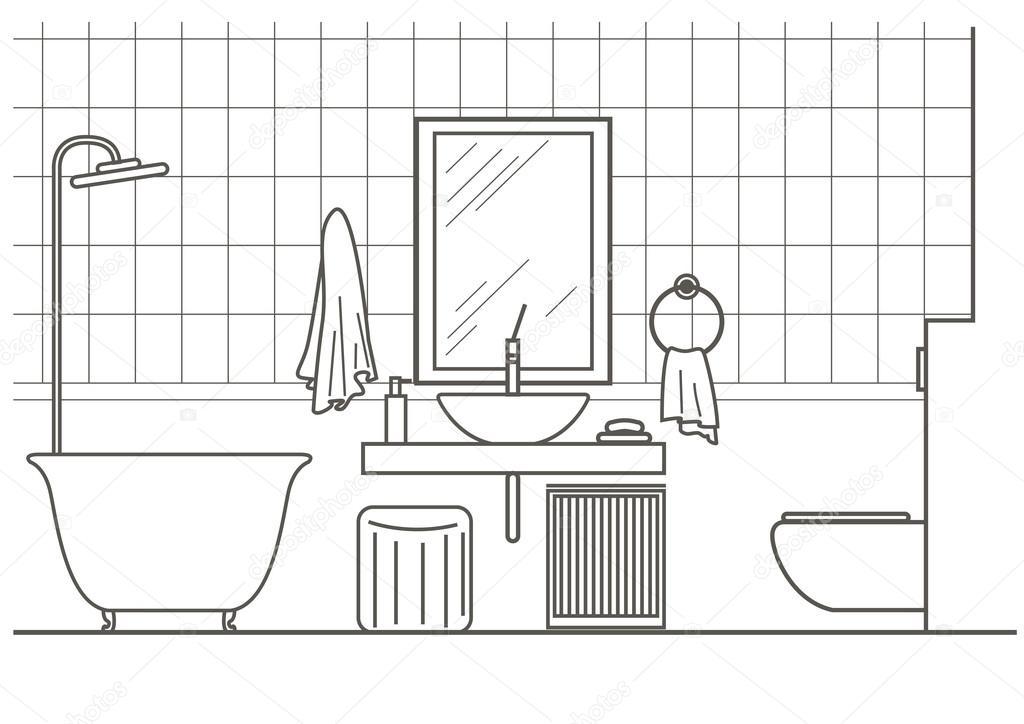 Arquitectura dibujo lineal vista frontal interior de for Imagenes de taza de bano para colorear
