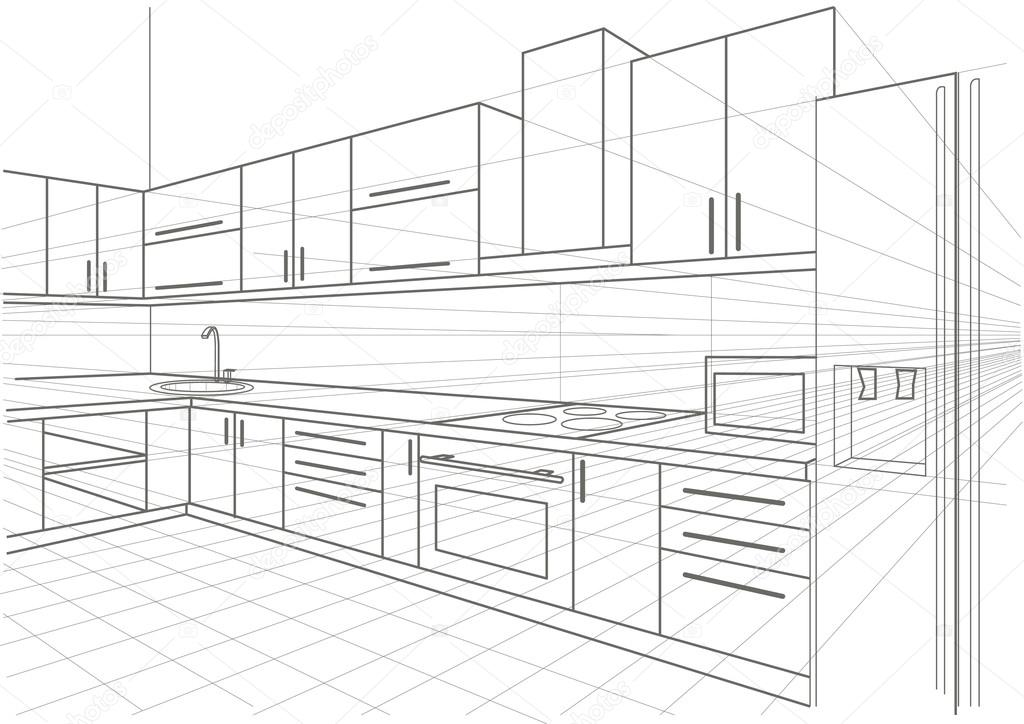 Cocina interior dibujo lineal vector de stock tanok911 for Cocina dibujo