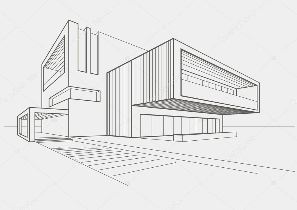 Linear sketch of modern building on light gray background for Croquis de maison