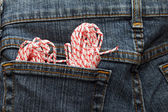 Rope in a pocket of jeans — Foto de Stock