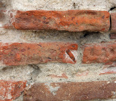 Small part broken brick wall — Stock Photo