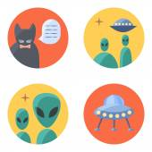 Freak  flat icon set for contacts — Stock Vector