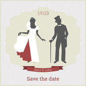 Save the date card template with bride and groom in retro style — Stock Vector