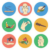 Thai massage isolated flat color icon set — Vettoriale Stock