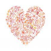 Creative doodle watercolor heart — Stock Vector