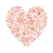 Creative doodle watercolor heart — Stockvector