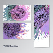 Card template set. Doodle hearts. Paint splash. Handdrawn youth style — Διανυσματικό Αρχείο