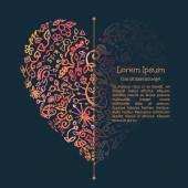 Watercolor doodle heart. Valenines card template — Stock vektor