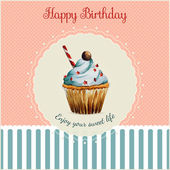 Birthday greeting card template with watercolor cupcake illustration — Stock Vector