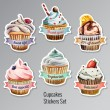Cupcakes stickers set with different text — Stock Vector #73110359