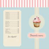 Confectionery menu template with watercolor cupcake illustration — ストックベクタ