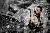 Killer standing on dark city background to kill — Stock Photo