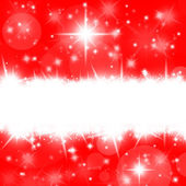 Christmas red card with bright stars and snowflakes — Stockfoto