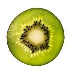 Green kiwi slice isolated on white background back lighted  — Stock Photo #61542401