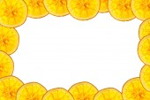 Orange slice isolated on white background back lighted as frame — Stock Photo
