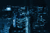 Intentionally blurred background of a night city blu toned — Stock Photo