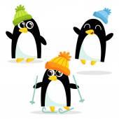 Cute penguins having fun — Vetor de Stock