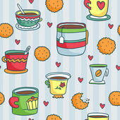 Pattern with hand drawn cups — Stock Vector