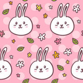 Pattern with rabbits and flowers — Stock Vector