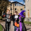 Three adorable trick or treaters begging for Halloween candy — Stock Photo #55501489