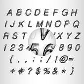 Calligraphic black grunge alphabet vector illustration — Stock Vector