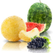 Sprig of grapes, melon and watermelon isolated, triangle design vector illustration — Stock Vector