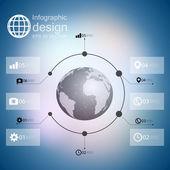 Infografica con sfondo sfocato e icone set per vector design business — Vettoriale Stock