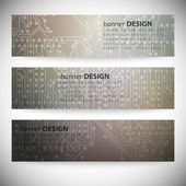 Set of horizontal banners. Microchip backgrounds, electronics circuit, EPS10 vector illustration — Stockvector
