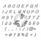 Calligraphic black watercolor alphabet vector illustration — Stock Vector