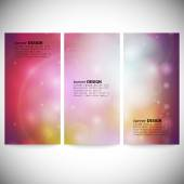 Set of vertical banners. Abstract multicolored defocused lights background vector illustration — Stock Vector