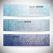 Set of horizontal banners. Microchip backgrounds, electronics circuit, EPS10 vector illustration — Vecteur