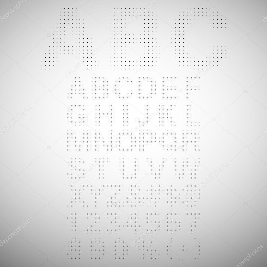 алфавитов и цифр символов в ретро