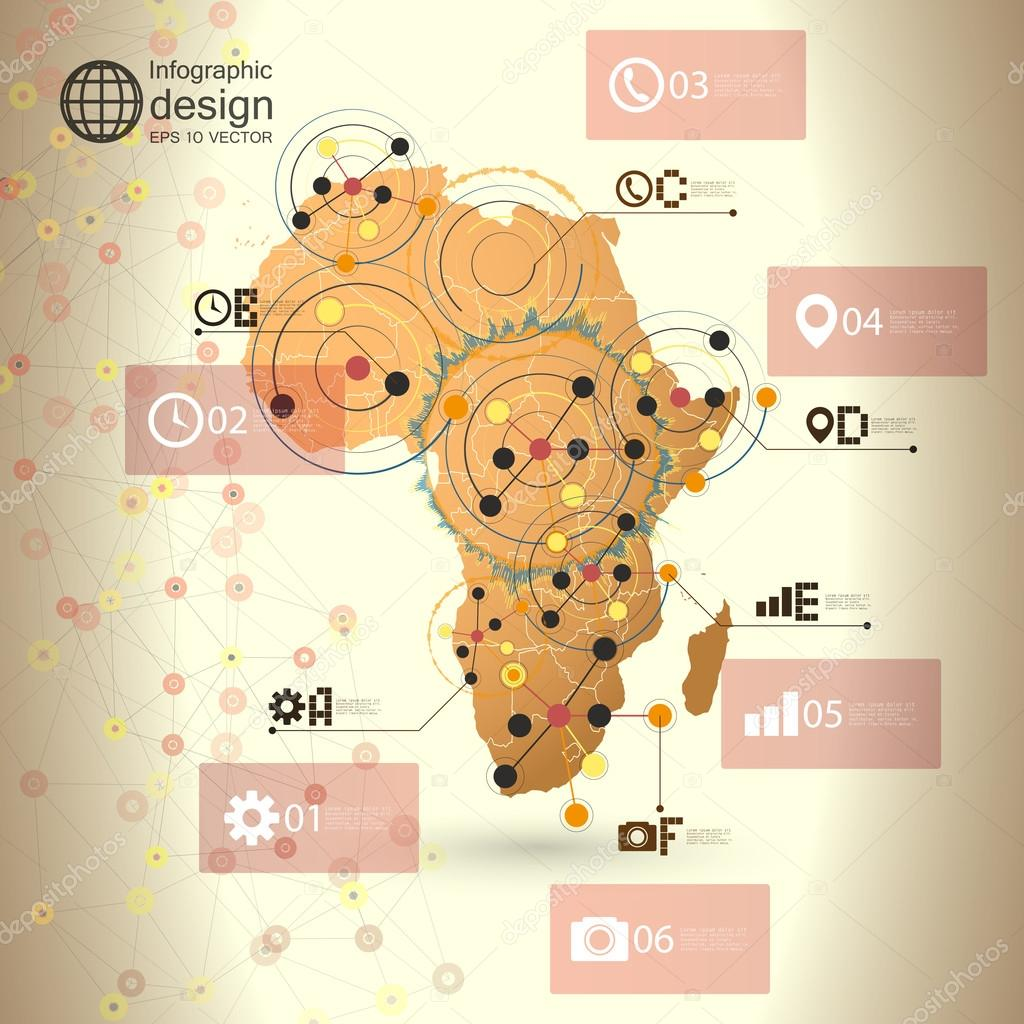 非洲地图背景矢量,通信的信息图表设计插图