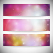 Set of horizontal banners. Abstract multicolored defocused lights background vector illustration — Stock Vector