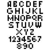 Pixel lettertype - alfabet en cijfers tekens in retro met vierkante pixels lettertype — Stockvector