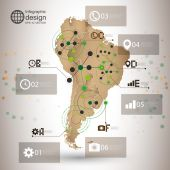 South America map vector, infographic design illustration for communication — Stock Vector