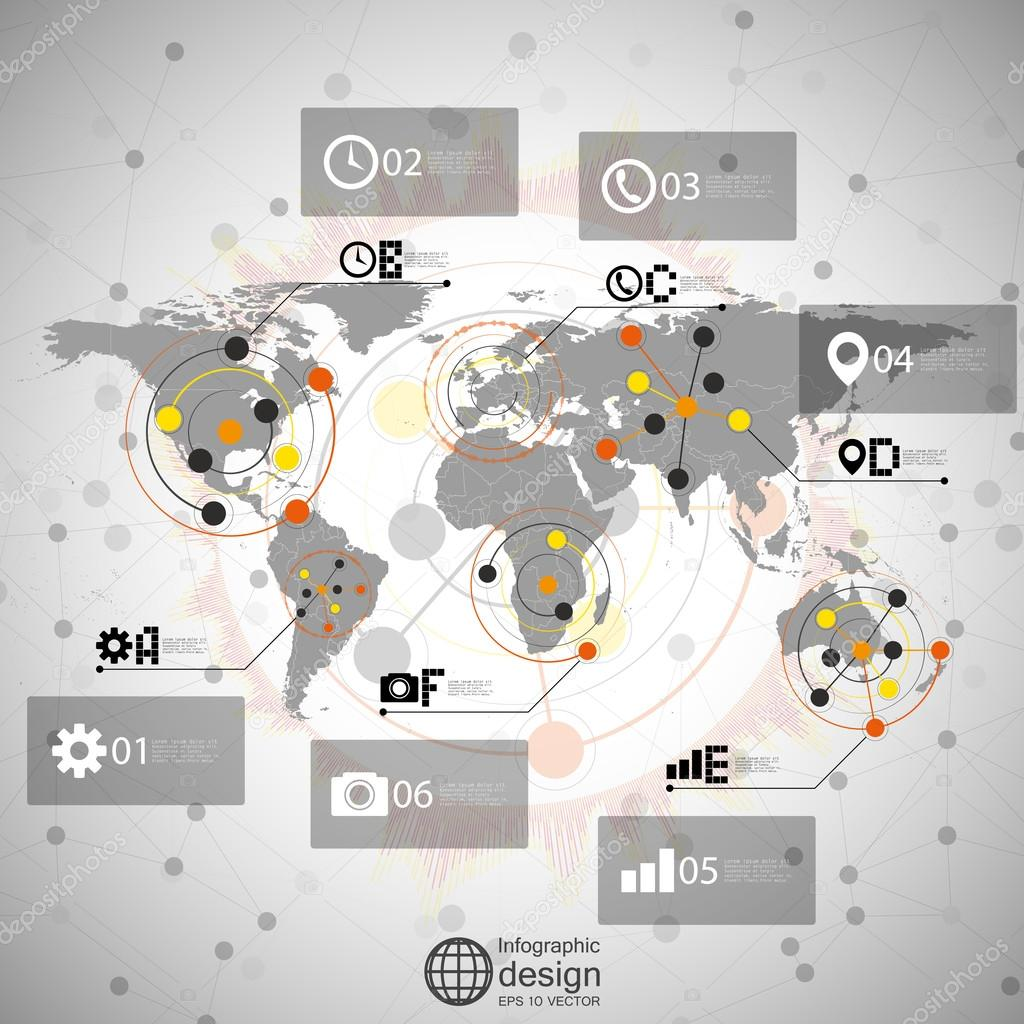 世界地图矢量,通信的信息图表设计插图