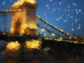Beautiful night landscape, triangle design illustration — Stock Photo