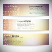 Set of horizontal banners. Microchip backgrounds, electronics circuit, EPS10 vector illustration — 图库矢量图片
