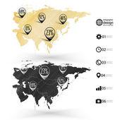Eurasia map, wooden design texture, infographics vector illustration — Stock Vector