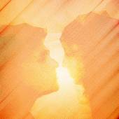Loving couple kissing at sunset, beautiful wooden vector background — Cтоковый вектор